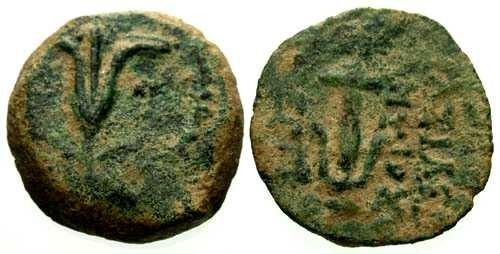 Ancient Coins - VF/VF Antiochus VII Jerusalem mint AE / Lily and anchor