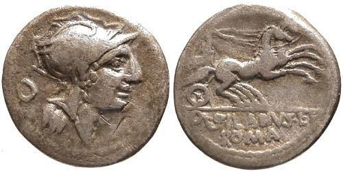 Ancient Coins - 91 BC / gF/gF Junia 15 Roman Republic Denarius / Victory in biga