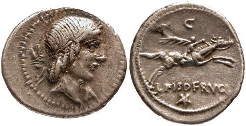 Ancient Coins - 90 BC / VF/aEF Calpurnia 11 Roman Republic Denarius / Horseman galloping right