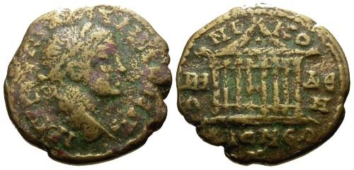 Ancient Coins - F/F Maximinus I Bithynia Nicomedia AE20 / Temple