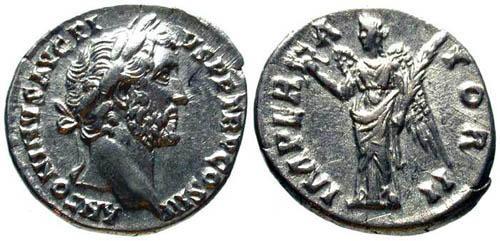 Ancient Coins - EF/aEF Antoninus Pius Denarius / Victory