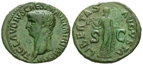 Ancient Coins - VF/VF Claudius AS / Libertas