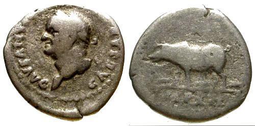 Ancient Coins - gF/gF Vespasian Denarius / Sow / Left Facing Bust