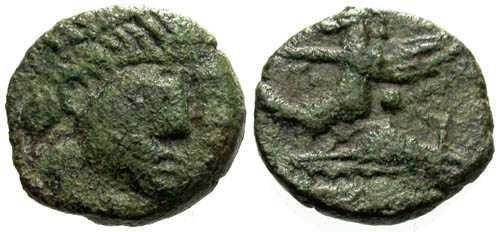 Ancient Coins - aVF Tiny Barborous Copy of Roman Bronze found in England