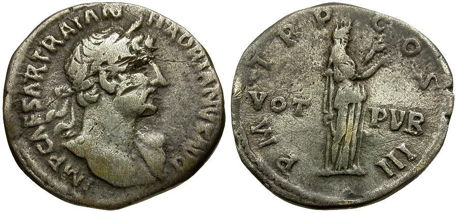 Ancient Coins - Hadrian AR Denarius / Pietas