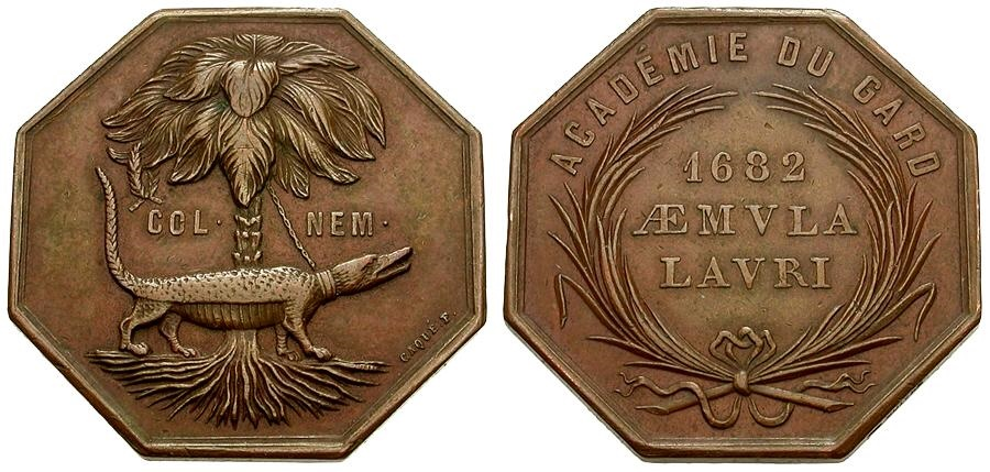 World Coins - France. Æ Octagonal Jeton by Caque / Crocodile Chained to Palm Tree
