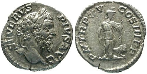 Ancient Coins - VF/aVF Septimius Severus Denarius / Africa