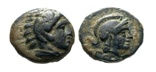 Ancient Coins - EF/EF Mysia Pergamon AE11 / Herakles and Athena