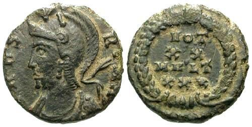 Ancient Coins - VF/VF VRBS Roma AE14 / VOT XX MVLT XXX in Wreath / Rare