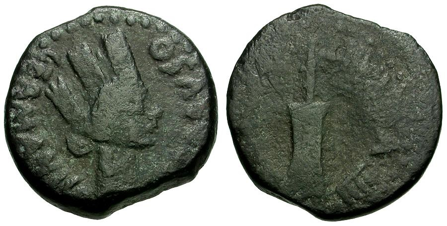 Ancient Coins - Spain.  Carteia. Germanicus and Drusus Æ18 / Fortuna and Rudder