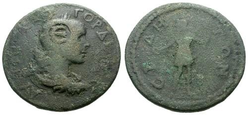 Ancient Coins - gF/F Gordian III, Pamphylia, Side AE32 / Apollo
