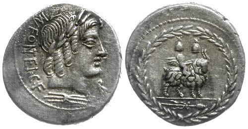 Ancient Coins - 85 BC EF/EF Fonteia 9 Roman Republic AR Denarius Cupid on Goat.