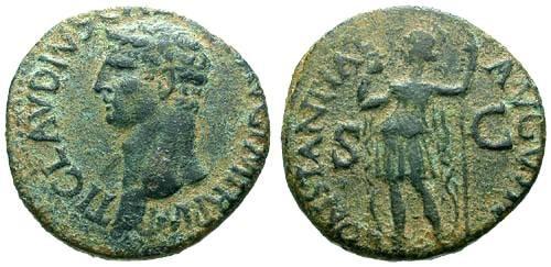 Ancient Coins - VF/VF Claudius AE AS / Constantia