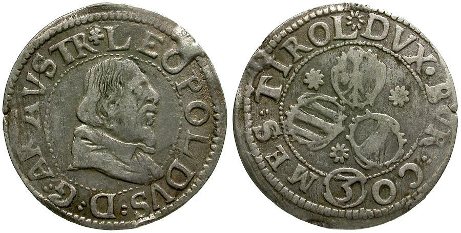 Ancient Coins - Austria. House of Habsburg. Archduke Leopold V AR 3 Kreuzer