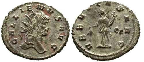 Ancient Coins - EF/EF Gallienus Silvered Antoninianus / Uberitas