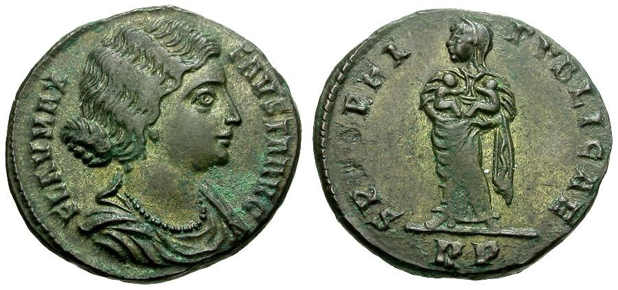 Ancient Coins - Fausta Æ3 / Spes Holding Two Infants