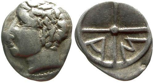Ancient Coins - F+/F+ Salyens AR Obol of Massalia Gaul / AM not MA / RR
