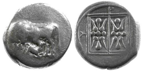 Ancient Coins - aVF/VF Illyria Dyrrahachium AR Stater / Cow with calf