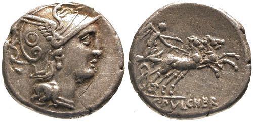 Ancient Coins - 110-109 BC / VF/VF Claudia 1 Roman Republic Denarius / Victory in Biga