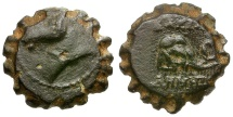 Ancient Coins - Seleukid Kings. Demetrios I Æ17 Serrate / Elephant