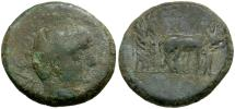 Ancient Coins - Augustus. Macedonia Philippi Æ17 / Priests Ploughing