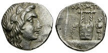 Ancient Coins - Lycia.  Lycian League. Olympos AR Drachm / Lyre with Trophy