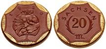 World Coins - Germany, Kingdom of Saxony, 1920 Gilded brown Porcelain Notgeld