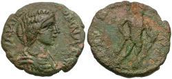 Ancient Coins - Julia Domna (AD 193-217). Cilicia. Carallia Æ24 / Herakles