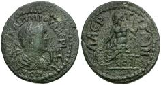 Ancient Coins - Valerian I. Cilicia. Laertes Æ 11 Assaria / Zeus Enthroned
