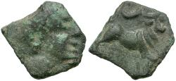 Ancient Coins - Celtic Iberian. Castulo Imitation Æ16  / Bull