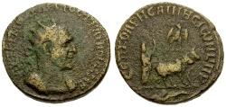 Ancient Coins - Trajan Decius. Mesopotamia. Rhesaena Æ25 / Founder Ploughing