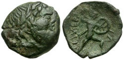 Ancient Coins - Sicily. Messana. The Mamertini Æ17 / Lindgren Plate Coin