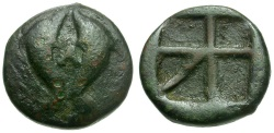 Ancient Coins - Islands off Attica. Aegina Æ11 / Two Dolphins