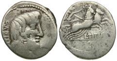 Ancient Coins - 89 BC - Roman Republic. L. Titurius L.f. Sabinus AR Denarius / Victory in Biga