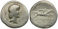 Ancient Coins - 90 BC - Roman Republic. L. Calpurnius Piso Frugi AR Denarius / Horseman