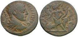 Ancient Coins - Elagabalus (AD 218-222). Seleucis and Pieria. Raphanea Æ23 / Genius
