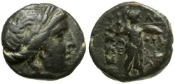 Ancient Coins - Thessaly.  Thessalian League Æ19 / Apollo / Athena