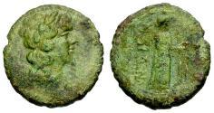 Ancient Coins - VF/VF Sicily, Katane Æ Hexas / Apollo / Isis