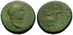 Ancient Coins - Trajan.  Seleucia and Pieria. Gabala Æ23 / Tyche Seated