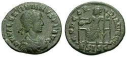 Ancient Coins - aVF/VF Valentinian II Æ3 / Roma seated