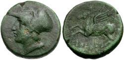 Ancient Coins - Bruttium. Lokroi Epizephyrii. Time of Pyrrhos of Epeiros Æ23 / Pegasos