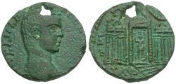 Ancient Coins - Elagabalaus (AD 218-222). Phoenicia. Tripolis Æ22 / Temple of Astarte