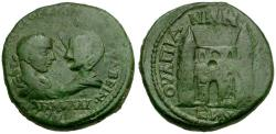 Ancient Coins - Gordian III and Tranquillina. Thrace. Anchialus Æ26 / City gate with two towers and three arches