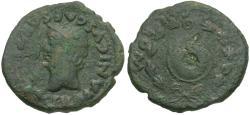 Ancient Coins - Germanicus Caesar (AD 37-41). Spain. Romula Æ Semis / Shield in Wreath