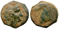 Ancient Coins - Iberia. Carthaganova Æ 1/5 Unit / Tanit and Horse Head