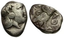 Ancient Coins - Attica. Athens. Transitional Style AR Tetradrachm / Owl