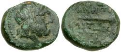 Ancient Coins - Macedon.  Amphipolis Æ19 / Club in Wreath