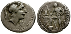 Ancient Coins - gF+/gF+ 96 BC - Roman Republic, AR Denarius of C. Malleolus / Soldier with Trophy