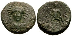 Ancient Coins - Sicily Leontini Æ22 / Facing bust of Demeter