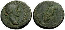 Ancient Coins - Commodus, Syria, Cyrrhestica Cyrrhus Æ22 / Zeus Seated